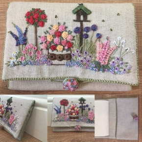 'In an English Country Garden' needle case, my interpretation of a design by Lorna Bateman