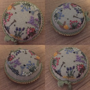 'In an English Country Garden' pincushion, my interpretation of a design by Lorna Bateman