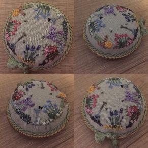 'In an English Country Garden' pincushion, my interpretation of a design by Lorna Bateman