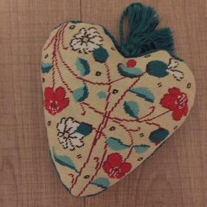 Heart Shaped Herb Cushion designed by Debby Robinson for Medieval Needlepoint (1992)