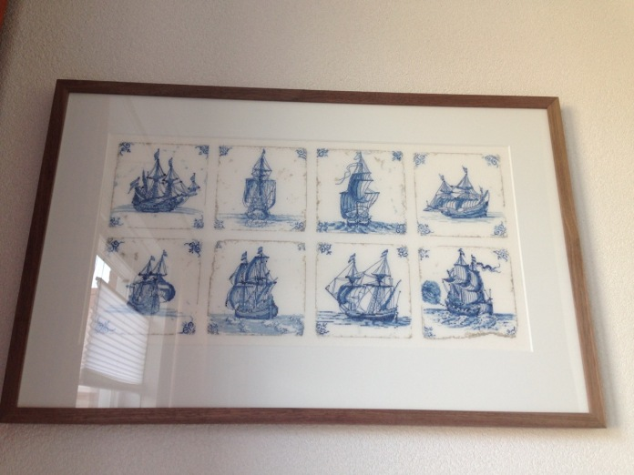 'Antique Dutch Tiles' by Thea Gouverneur and framed by Jan d'Art